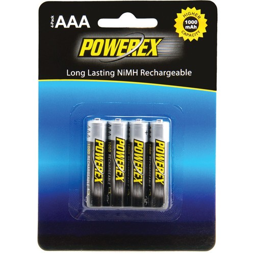 Powerex MHRAAA4 Rechargeable AAA NiMH Batteries